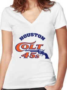 Houston Colt 45s Baseball Retro Women's Fitted V-Neck T-Shirt