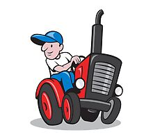 Farmer Driving Vintage Tractor Cartoon by patrimonio