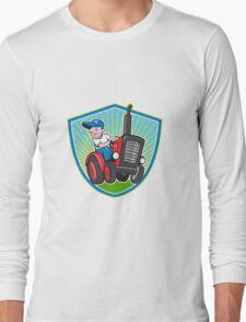 Farmer Driving Vintage Tractor Cartoon Long Sleeve T-Shirt