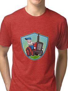 Farmer Driving Vintage Tractor Cartoon Tri-blend T-Shirt