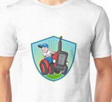 Farmer Driving Vintage Tractor Cartoon Unisex T-Shirt