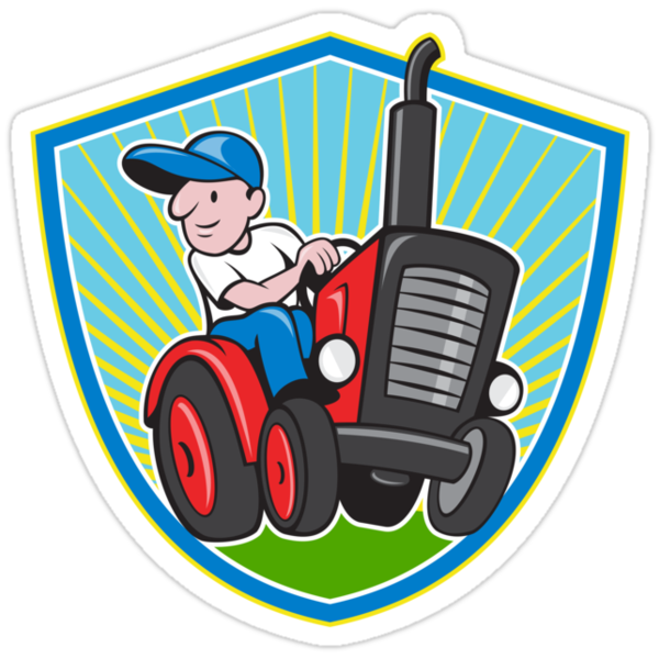 Farmer Driving Vintage Tractor Cartoon by patrimonio