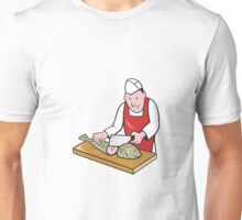Sushi Chef Butcher Fishmonger Cartoon Unisex T-Shirt