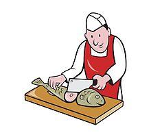 Sushi Chef Butcher Fishmonger Cartoon by patrimonio