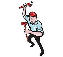 Plumber With Monkey Wrench And Plunger Cartoon by patrimonio
