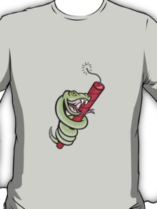Rattle Snake Coiling Dynamite Cartoon T-Shirt