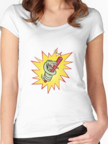 Rattle Snake Coiling Dynamite Cartoon Women's Fitted Scoop T-Shirt