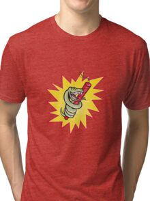 Rattle Snake Coiling Dynamite Cartoon Tri-blend T-Shirt
