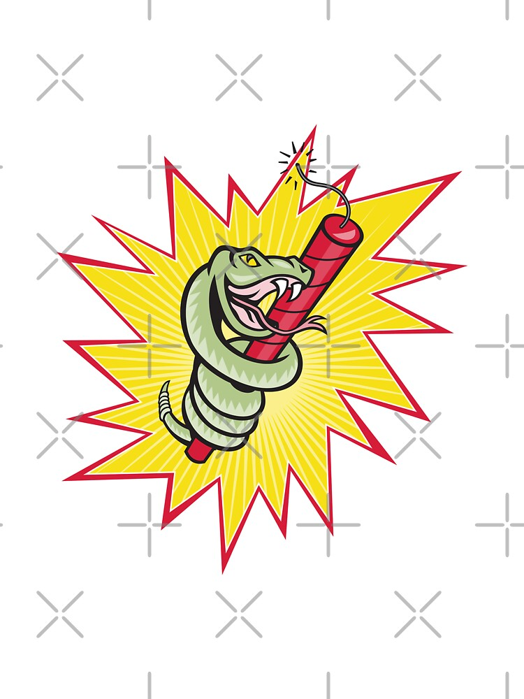 Rattle Snake Coiling Dynamite Cartoon by patrimonio