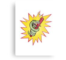 Rattle Snake Coiling Dynamite Cartoon Metal Print