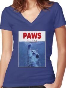 PAWS! JAWS Parody When Cats Attack Women's Fitted V-Neck T-Shirt
