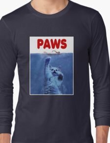 PAWS! JAWS Parody When Cats Attack Long Sleeve T-Shirt