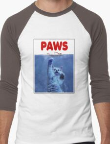 PAWS! JAWS Parody When Cats Attack Men's Baseball ¾ T-Shirt