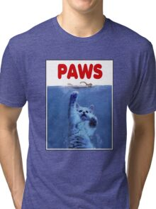 PAWS! JAWS Parody When Cats Attack Tri-blend T-Shirt