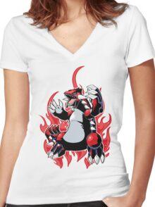 Groudon Women's Fitted V-Neck T-Shirt