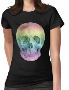 Albinus Skull 02 - Over The Rainbow - White Background Womens Fitted T-Shirt