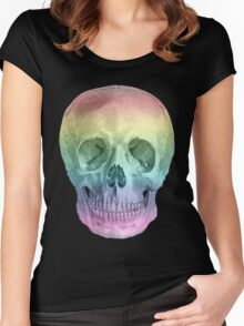 Albinus Skull 02 - Over The Rainbow - Black Background Women's Fitted Scoop T-Shirt