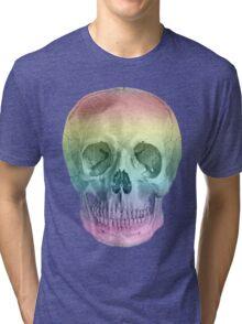 Albinus Skull 02 - Over The Rainbow - Black Background Tri-blend T-Shirt