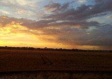 The sun sets over the fields by Lorna Taylor