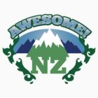 AWESOME New Zealand with Maori stylised kiwi map and mountains  by jazzydevil