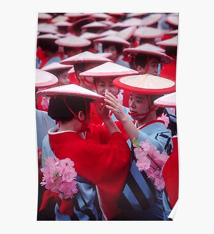 Japanese women in Heian period kimonos Poster