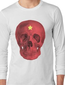Albinus Skull 05 - Red Comunist Legend - White Background Long Sleeve T-Shirt