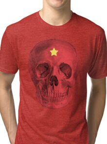 Albinus Skull 05 - Red Comunist Legend - White Background Tri-blend T-Shirt
