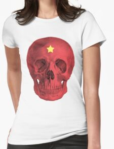 Albinus Skull 05 - Red Comunist Legend - White Background Womens Fitted T-Shirt