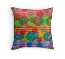 Round Shapes within and above horizontal Stripes  Throw Pillow