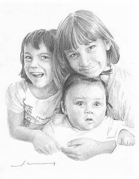 Three sisters drawing by Mike Theuer