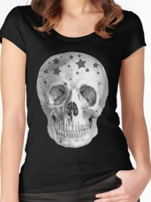Albinus Skull 06 - Wannabe Star - Black Background Women's Fitted Scoop T-Shirt