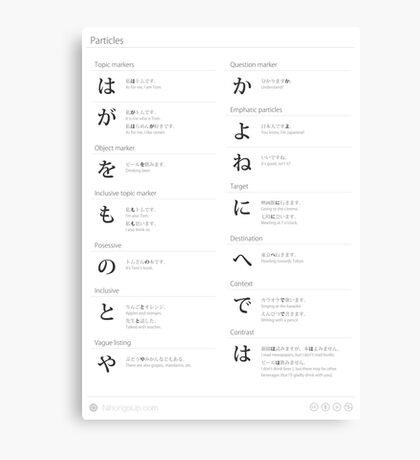 Japanese particles cheat sheet & poster Canvas Print