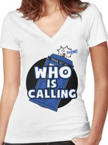 WHO IS CALLING - Vers. 2 Women's Fitted V-Neck T-Shirt