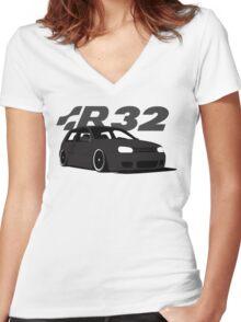 Black MKIV R32 Women's Fitted V-Neck T-Shirt