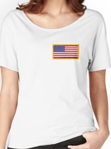 American ARMY, Flag, SMALL, Embroidered, Stars and Stripes, USA, United States, America, Military Badge Women's Relaxed Fit T-Shirt