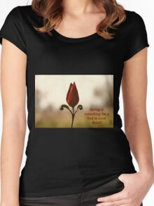 Spring is something for a bud to crow about. Women's Fitted Scoop T-Shirt