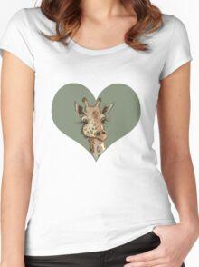 Lovely Lashes Giraffe Women's Fitted Scoop T-Shirt