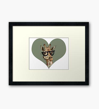 Ironic Lovely Lashes Giraffe Framed Print