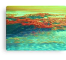 Orange Clouds, Aqua River Canvas Print
