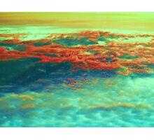 Orange Clouds, Aqua River Photographic Print