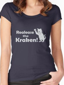Release The Kraken Kitten funny nerd geek geeky Women's Fitted Scoop T-Shirt