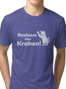 Release The Kraken Kitten funny nerd geek geeky Tri-blend T-Shirt