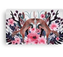 Foxy Field and Flowers Canvas Print