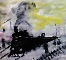 Train has arrived , a Monet, watercolor by Anna  Lewis