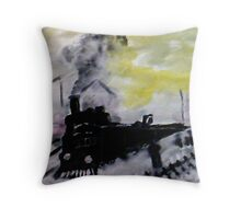 Train has arrived , a Monet, watercolor Throw Pillow