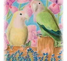 Peach Faced Love Birds by jkartlife
