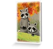 Raccoons in Autumn Woods Greeting Card