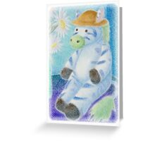 Toy Zebra with Daises Greeting Card