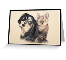 Blue Tick Hound with Calico Cat Greeting Card
