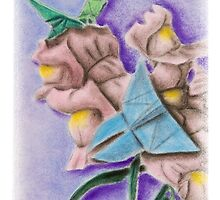 Origami Butterflies on Snapdragon Flowers by jkartlife